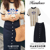 Fashion suit Summer 2020 S,M,L,XL Off white T-shirt, dark blue skirt 18-25 years old 51% (inclusive) - 70% (inclusive) cotton