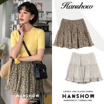 skirt Summer 2020 S,M,L,XL Apricot, black Short skirt Versatile High waist A-line skirt Broken flowers Type A 18-24 years old Chiffon Ruffles, folds, waves, stitching, printing