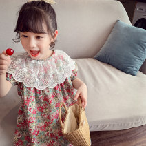 Dress Rose red, green female Mimihello 90cm,100cm,110cm,120cm,130cm,140cm,150cm Other 100% summer Korean version Short sleeve Broken flowers cotton A-line skirt TQ1026 Class B 2, 3, 4, 5, 6, 7, 8, 9, 10, 11 Chinese Mainland