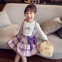 suit Mimihello lilac colour 90cm,100cm,110cm,120cm,130cm,140cm,150cm female summer Korean version Short sleeve + skirt 2 pieces routine There are models in the real shooting Socket nothing lattice other children Learning reward THC21078 Class B Other 100% 2, 3, 4, 5, 6, 7, 8, 9, 10 years old