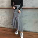 skirt Autumn 2020 S M L lattice Mid length dress commute High waist skirt houndstooth  Type A 18-24 years old YRYY-8563-1 More than 95% Looking for Jie polyester fiber Asymmetric ruffles Korean version Polyester 100% Pure e-commerce (online only)