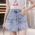 skirt Summer 2020 S M L XL blue Short skirt commute High waist Irregular Solid color 18-24 years old SSFS-9961 71% (inclusive) - 80% (inclusive) Looking for Jie cotton Asymmetric button zipper stitching in tassel pocket Korean version Cotton 80% polyester 15% viscose 5% Pure e-commerce (online only)