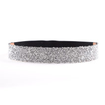 Belt / belt / chain Pu (artificial leather) White rhinestones, black rhinestones, white arrow rhinestones, square rhinestones, diamond rhinestones, gold line, white line female belt grace Single loop Youth, youth, middle age Smooth button Geometric pattern 4cm alloy Water drill, elastic