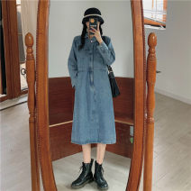 Dress Spring 2021 blue S M L Mid length dress singleton  Long sleeves commute High waist routine 18-24 years old Shu life Korean version More than 95% other Other 100% Pure e-commerce (online only)