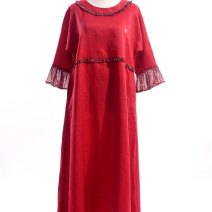 Dress Summer 2020 Logo embroidery with robe, logo embroidery without Robe S (bust 108, length 108, sleeve length 46), m (bust 108, length 118, sleeve length 48), l (bust 108, length 128, sleeve length 50) Robe smile