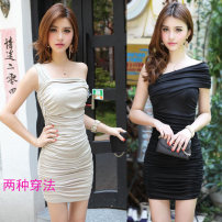Dress Summer 2015 Black, apricot S,M,L,XL Short skirt singleton  Short sleeve commute One word collar middle-waisted Solid color Socket Pencil skirt other Breast wrapping 18-24 years old More other brands Korean version Asymmetry, splicing, folding, open back, pleating other other