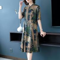 Middle aged and old women's wear Summer 2020 green L XL 2XL 3XL 4XL 5XL commute Dress easy singleton  Decor 50-59 years old Socket thin Polo collar Medium length routine DSX1181 Dai shuxiu polyester Polyester 70% other 30% 51% (inclusive) - 70% (inclusive) Medium length Polyester Retro