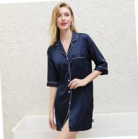 Nightdress Shanghai Story 165(L),170(XL) Simplicity three quarter sleeve pajamas Short skirt summer Solid color youth Small lapel Polyester (polyester) More than 95% polyester fiber