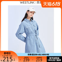 Dress lady Cotton 100% Same model in shopping malls (both online and offline) Medium length skirt singleton  Long sleeve commute other Solid color Single breasted routine other More than 95% 18-24 years old cotton Type H Winter 2020 AAD1901285 Westlink / Xiyu S M L XL