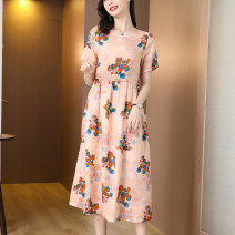 Women's large literature routine Summer 2021 commute singleton  Dress longuette BH-3F-360C-0088 Short sleeve Design and color Crew neck Conjoined body 35-39 years old Chang Ouyi printing and dyeing 51% (inclusive) - 70% (inclusive) Flax 50% other 50% Pure e-commerce (online sales only)