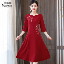 Dress Summer 2021 claret L XL 2XL 3XL 4XL 5XL 6XL Mid length dress singleton  elbow sleeve commute other High waist Solid color zipper A-line skirt routine Others 40-49 years old Type A European clothes Korean version Embroidery NRJ-2F-E253B-9255 More than 95% other other Other 100%