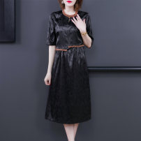 Dress Summer 2021 black L XL 2XL 3XL 4XL Mid length dress singleton  elbow sleeve commute Crew neck High waist Solid color Socket A-line skirt routine Others 40-49 years old European clothes Retro NRJ-2F-B01F-3028 31% (inclusive) - 50% (inclusive) Crepe de Chine silk Silk 50% other 50%