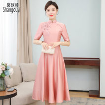 Dress Summer 2021 Pink M L XL 2XL 3XL Mid length dress singleton  elbow sleeve commute stand collar High waist Solid color Socket A-line skirt routine Others 35-39 years old Type A European clothes Korean version Embroidered nail beads 31% (inclusive) - 50% (inclusive) other silk Silk 50% other 50%
