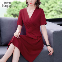 Dress Summer 2021 Red and black M L XL 2XL 3XL 4XL Mid length dress singleton  Short sleeve commute V-neck High waist Solid color zipper A-line skirt routine Others 40-49 years old Type A European clothes Korean version Pleated zipper XJM-5F-E073-80180 More than 95% other other Other 100%