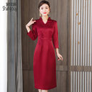 Dress Spring 2021 claret M L XL 2XL 3XL 4XL Mid length dress singleton  three quarter sleeve commute V-neck High waist Solid color Socket A-line skirt routine Others 40-49 years old Type A European clothes Retro Embroidery NRJ - 2F - E253D - nine thousand two hundred and eleven other silk