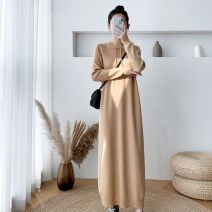 Dress Winter 2020 Black, khaki, apricot, blue, pink, tan S,M,L,XL longuette singleton  Long sleeves commute Crew neck Loose waist Solid color Socket One pace skirt routine Others 25-29 years old Type A Other Korean version 30% and below knitting acrylic fibres