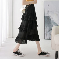 skirt Summer of 2019 XS/26 S/27 M/28 L/29 XL/30 2XL/31 White black Mid length dress High waist Cake skirt Solid color Type A 18-24 years old Chiffon Kou Yanbin Pure e-commerce (online only)