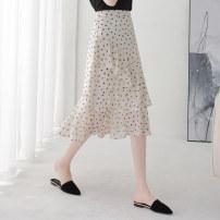 skirt Summer of 2019 XS/26 S/27 M/28 L/29 XL/30 2XL/31 Mid length dress High waist Irregular Dot Type A 18-24 years old Chiffon Kou Yanbin Pure e-commerce (online only)