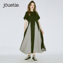 Dress Summer of 2019 Black fragmentary flower 89 (popular in stock) black lattice 84 (popular in stock) black leopard 09 (pre sold at the end of April) M longuette singleton  Short sleeve street Crew neck High waist Leopard Print Socket Big swing routine Others 25-29 years old Type A jouetie Chiffon
