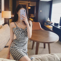 Dress Summer 2020 black and white XS,S,M,L Short skirt singleton  Sleeveless Sweet V-neck High waist lattice Socket A-line skirt camisole 18-24 years old Type A Bow, open back 31% (inclusive) - 50% (inclusive) brocade cotton princess