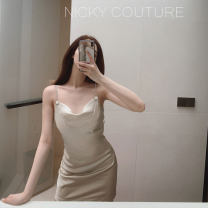 Dress Autumn of 2019 Champagne, pink S, M Short skirt singleton  Sleeveless Sweet V-neck middle-waisted Solid color Socket A-line skirt other camisole 18-24 years old Type A straps 51% (inclusive) - 70% (inclusive) Silk and satin Cellulose acetate college