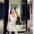 Dress Summer 2020 white S,M,L Short skirt singleton  Sleeveless Sweet square neck High waist Solid color Socket Princess Dress other camisole 18-24 years old Type H 31% (inclusive) - 50% (inclusive) nylon Ruili