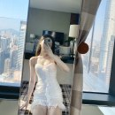 Dress Spring 2020 white XS,S,M,L Miniskirt singleton  Sleeveless Sweet other High waist Solid color other Ruffle Skirt other camisole 18-24 years old Type H 31% (inclusive) - 50% (inclusive) other polyester fiber
