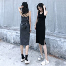 Dress Summer 2020 Black, dark gray, yellow, blue, green S,M,L,XL,2XL,3XL Mid length dress singleton  Sleeveless commute Crew neck middle-waisted Solid color Socket One pace skirt camisole 18-24 years old Korean version Strap, split txq-32 91% (inclusive) - 95% (inclusive) cotton