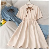 Dress Summer 2020 Average size longuette singleton  Short sleeve Solid color Single breasted 18-24 years old 30% and below