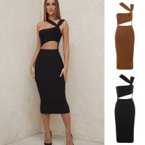 Dress Autumn 2020 Brown, black, gold XS,S,M,L,XL longuette Sweet High waist 25-29 years old Type H houseofcb AINA