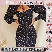 Dress Autumn 2020 black XS,S,M,L,XL longuette Long sleeves Sweet Half high collar High waist 25-29 years old Type H