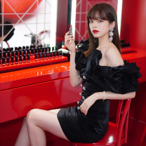 Dress Winter 2020 black XS,S,M,L Short skirt singleton  Short sleeve commute One word collar High waist Solid color zipper One pace skirt Breast wrapping 25-29 years old Type A SleepOverSleep backless s SOS03D001 polyester fiber
