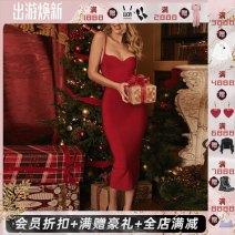 Dress Autumn 2020 Red, black, brown XS,S,M,L,XL longuette Sleeveless Sweet High waist 25-29 years old Type H