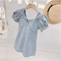 Dress Denim blue female Other / other 110cm , 120cm , 130cm , 140cm , 150cm , 160cm , M , L Cotton 100% summer Korean version Short sleeve Solid color cotton A-line skirt Class B 7, 8, 14, 3, 6, 13, 11, 5, 4, 10, 9, 12
