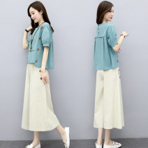 Women's large Summer 2020 M L XL XXL XXXL Other oversize styles Two piece set commute easy thin Socket Short sleeve Solid color Crew neck routine Button Cotton 65% viscose 30% flax 5% Pure e-commerce (online only) Cropped Trousers