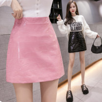 skirt Autumn 2020 S M L XL Pink (safety pants) black (safety pants) Short skirt commute High waist skirt Solid color Type A 25-29 years old 936# pBuy2 More than 95% Conia other Korean version PU Pure e-commerce (online only)