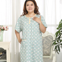 Nightdress Meiji rhyme Blue, bean green, rose, pink, light pink XXL (160-180 kg), 3XL (180-200 kg), 4XL (200-220 kg), 5XL (220-250 kg) Simplicity Short sleeve pajamas longuette summer middle age Crew neck cotton printing More than 95% pure cotton 200g