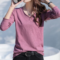 T-shirt White purple coffee grey blue S M L XL 2XL 3XL Spring 2020 Long sleeves V-neck easy Regular routine commute cotton 96% and above 25-29 years old Korean version originality Solid color Construct love G8625 Stitching line decoration Cotton 100% Pure e-commerce (online only)
