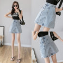 skirt Spring 2021 S M L XL 2XL blue Short skirt commute High waist Denim skirt Solid color Type A 18-24 years old DM6357 More than 95% Denim Point man other Three dimensional decorative pocket buttons Korean version Other 100% Pure e-commerce (online only)