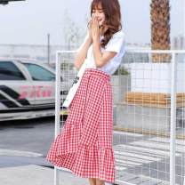 skirt Summer of 2019 L,M,XL T-shirt + dark blue skirt, short sleeve T-shirt, black and white check skirt, red skirt, T-shirt + red skirt, T-shirt + black and white check skirt, dark blue skirt Sweet High waist Ruffle Skirt lattice Type A 18-24 years old 51% (inclusive) - 70% (inclusive) brocade
