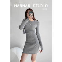 Dress Summer 2021 white , black , grey , blue , khaki S, M Short skirt singleton  Long sleeves street Hood High waist Solid color Socket A-line skirt routine 18-24 years old Type A Purple foam Europe and America
