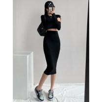 skirt Summer 2021 S,M,L Black, light grey, dark grey Mid length dress Retro High waist skirt Solid color Type A 18-24 years old Purple foam