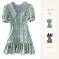 Dress Summer 2021 Green, blue S,M,L Short skirt singleton  Short sleeve street Admiral High waist lattice Socket Pleated skirt puff sleeve Others 18-24 years old Type A Other / other 31% (inclusive) - 50% (inclusive) Europe and America