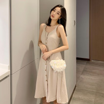 Dress Summer of 2019 Red, black, khaki Average size singleton  Sleeveless Single breasted camisole Other / other 31% (inclusive) - 50% (inclusive) cotton