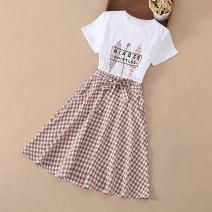Dress female Koho 140cm 150cm 160cm 170cm Other 100% summer Korean version Short sleeve lattice other A-line skirt Class B Summer 2021 8 years old, 9 years old, 10 years old, 11 years old, 12 years old, 13 years old, 14 years old Chinese Mainland