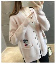 Wool knitwear Spring 2021 Average size Light pink Long sleeves singleton  Cardigan other More than 95% Regular routine commute easy V-neck routine Solid color Single breasted 25-29 years old
