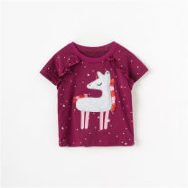 T-shirt summer leisure time No model in real shooting nothing Cotton 95% others 5% Class A Sweat absorption female Other / other 2 years old, 3 years old, 4 years old, 5 years old, 6 years old, 7 years old, 8 years old cotton Cartoon animation Short sleeve Crew neck