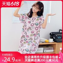 Nightdress Colorful stars Sweet Short sleeve longuette Leisure home Cartoon animation summer youth Crew neck viscose  printing More than 95% poplin  853-8 200g and below Summer of 2019 Viscose (viscose) 100% One size fits all