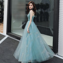 Dress / evening wear Weddings, adulthood parties, company annual meetings, daily appointments XS S M L XL XXL customized (return not supported) Lake blue dress Korean version longuette middle-waisted Summer 2020 Fluffy skirt Sling type zipper 18-25 years old MS2018 Sleeveless Nail bead Solid color