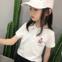 T-shirt female summer Short sleeve Lapel and pointed collar Europe and America There are models in the real shooting cotton Cartoon animation Cotton 100% Class A 2, 3, 4, 5, 6, 7, 8, 9, 10, 11, 12, 13, 14 years old Chinese Mainland